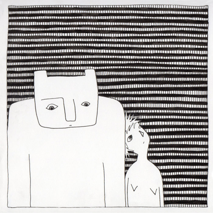Self-portrait with Bear drawing by Fox Larsson, from Some Stories Squared series