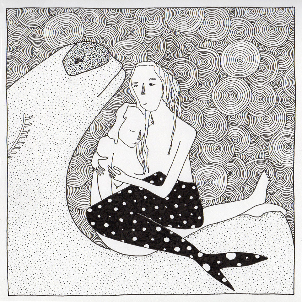 A picture from Fox Larsson's Some Stories Squared series, Merman in my Lap