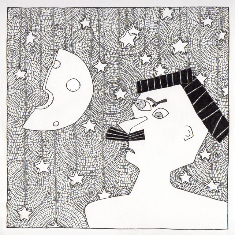 Stars, Cheese and Mustache drawing by Fox Larsson from Some Stories Squared Series