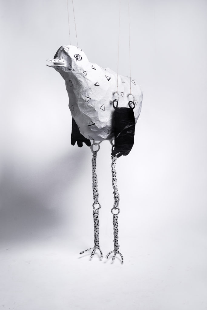 Paper mache and wire bird sculpture by Fox Larsson