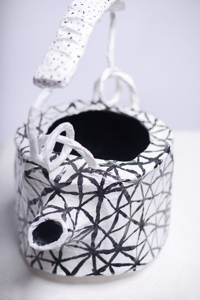 Teapot Sculpture in Wire and Paper-Mache by Fox Larsson