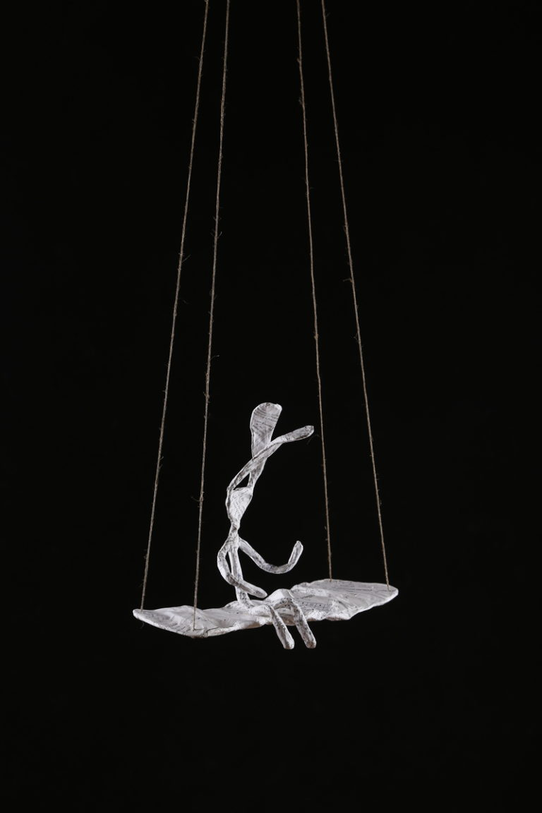 Fox Larsson Rabbit on Swing Sculpture in Wire and Paper-Mache
