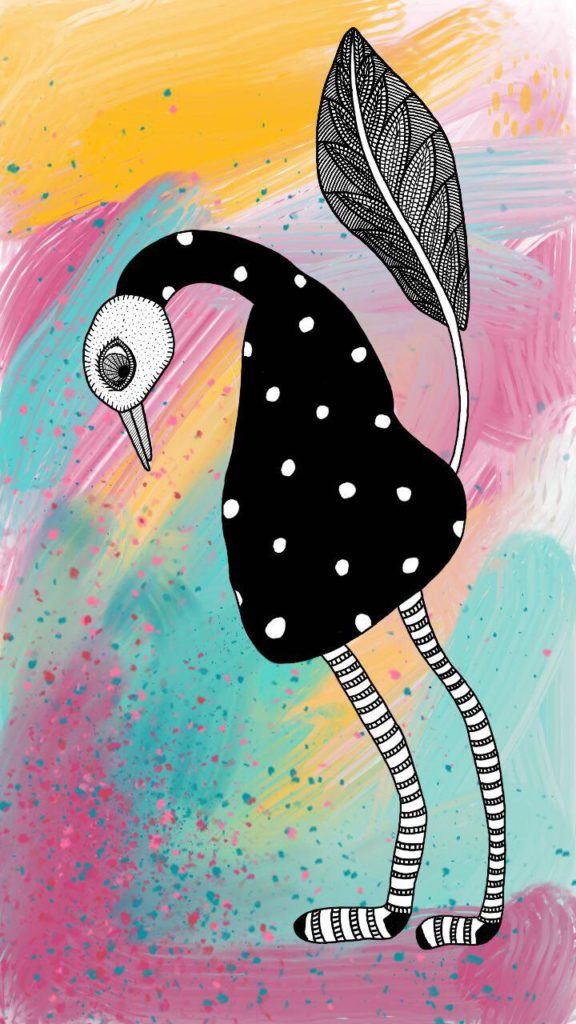 Drawing of bird  wearing very long striped socks, a digital mixed media piece by Fox Larsson