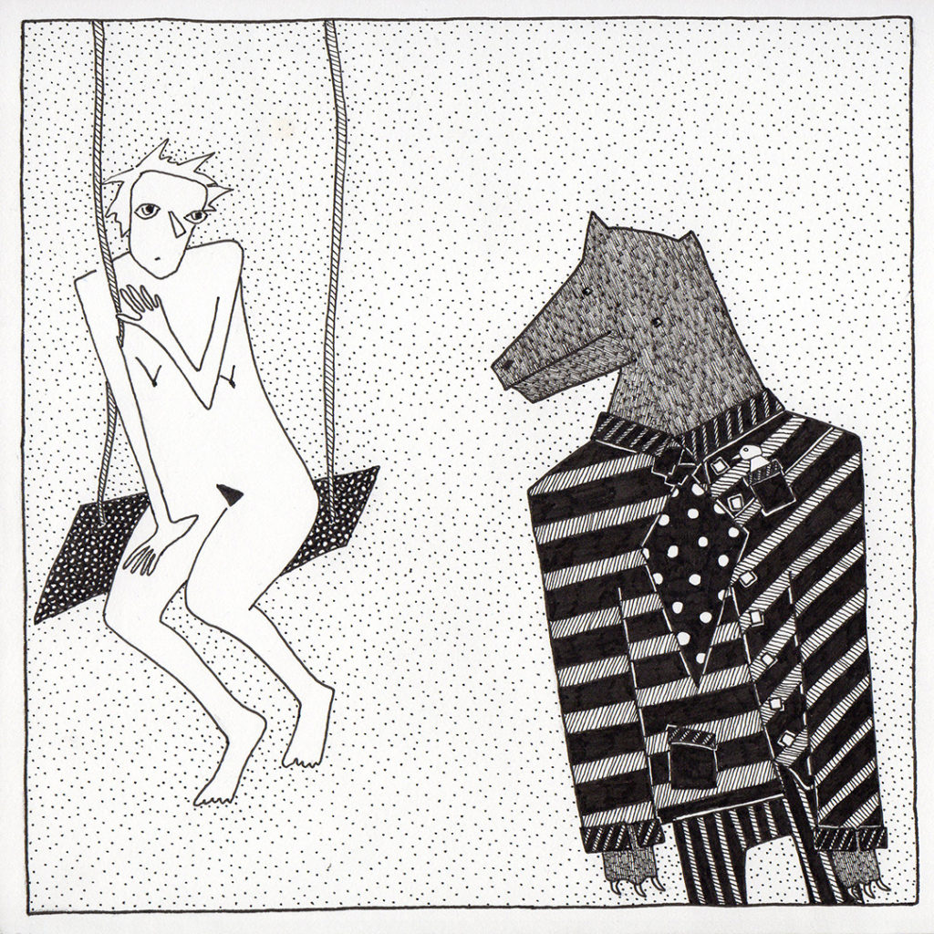 On the Swing - drawing of nude girl on swing and an overdressed wold in black pen by Fox Larsson
