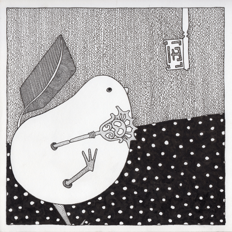 The Bird and the Keys - drawing in black pen by Fox Larsson